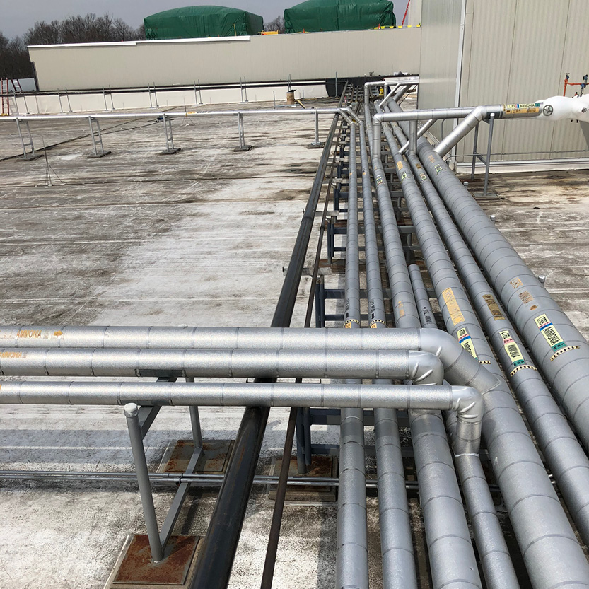 Freezer Expansion_Food Distribution Center_Roof Piping Ammonia